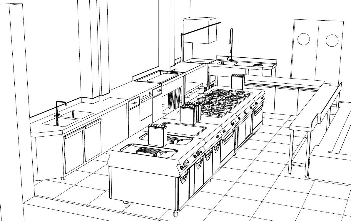 render cocina industrial
